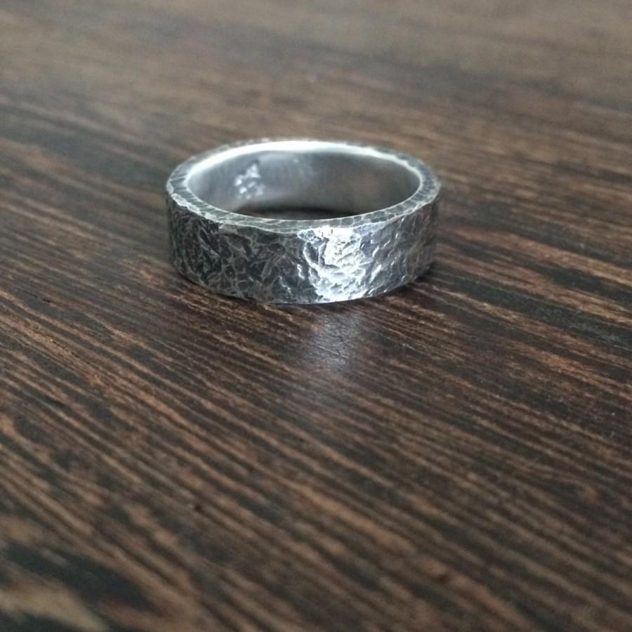 Hochzeit - Men's wedding band, antique mens ring, mens wedding ring, oxidised silver, rustic mens ring, chunky silver wedding band, rustic wedding,