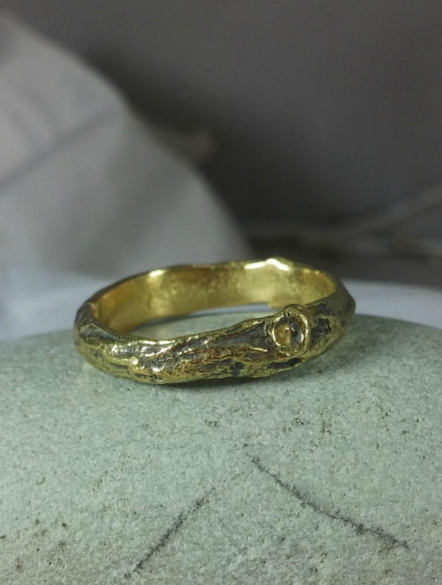 Mariage - Men's wedding Ring, 18 kt gold Wedding Band,  Heavy Gold Branch Band, solid gold Twig Ring, Men's Ring, Men's gold Band
