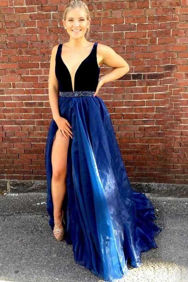 245ca38a6f Customized Absorbing Prom Dresses Blue Deep V-Neck Sweep Train Split Royal  Blue Organza Beaded Prom Dress