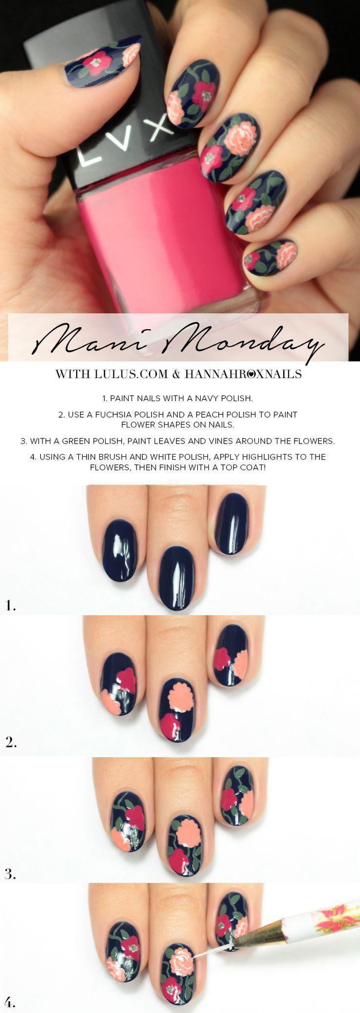 زفاف - Mani Monday: Blue Floral Print Nail Tutorial (Lulus.com Fashion Blog