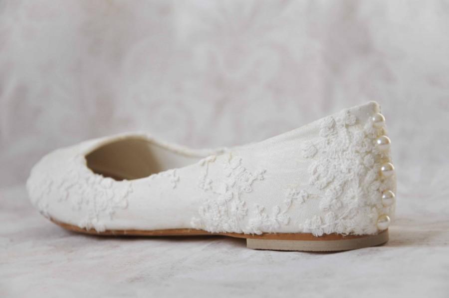 white lace flat shoes wedding