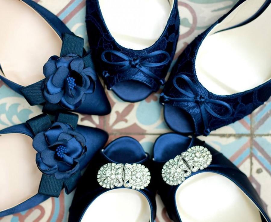 6b2bb43faf5d4 Navy blue Wedding Shoes- Custom Blue Wedding Shoe - Navy Blue Heels - Navy  Blue Flats - Custom Navy Blue Shoes - Bridal Navy Blue Wedding