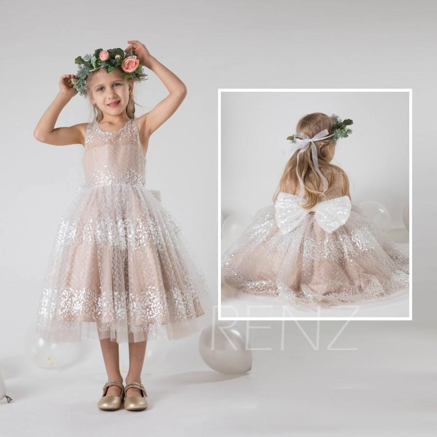 eff88637464903 Flower Girl Dress,Pale Khaki Tulle Dress,Off White Sequin Bowknot Party  Dress,Lace Illusion Princess Dress,Junior Bridesmaid Dress(LK452B)
