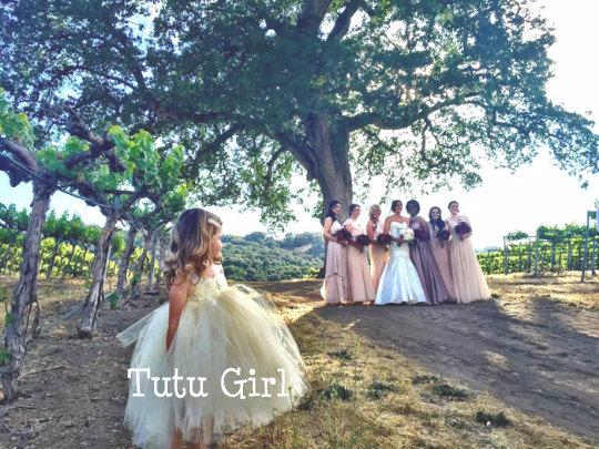 Wedding - Ivory Gold Flower Girl Tutu Dress