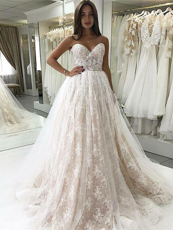 Mariage - A-Line Sweetheart Sweep Train Lace Wedding Dress With Appliques