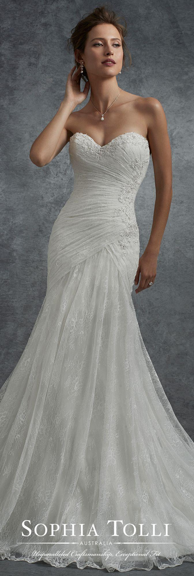 Mariage - Strapless Allover Lace Draped Bodice Wedding Dress - Sophia Tolli Y21754