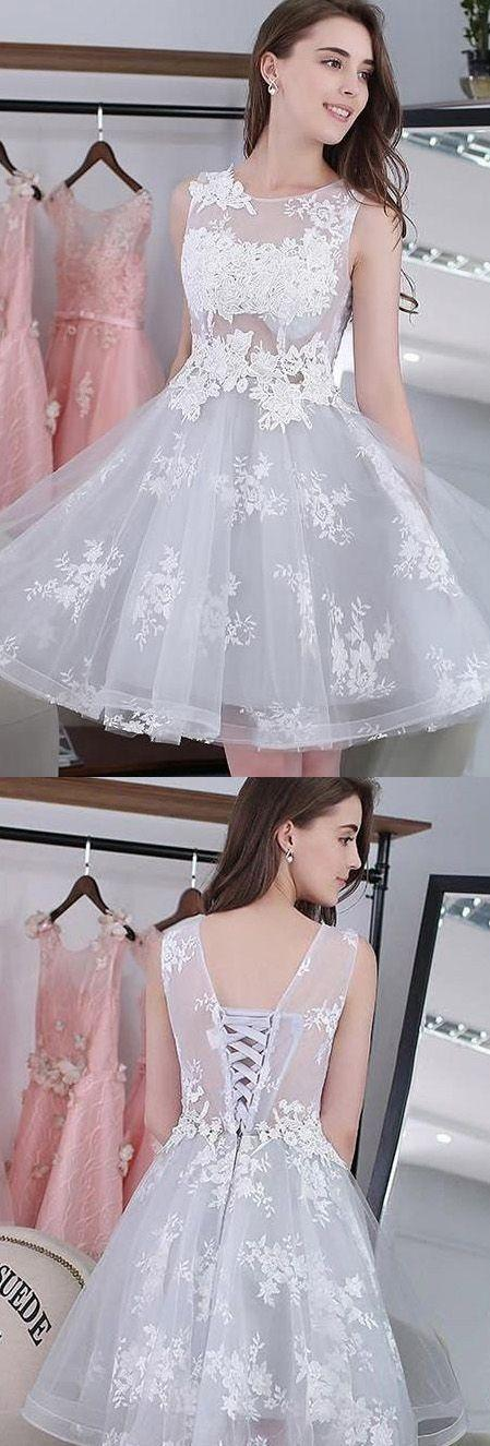 Wedding - Hot Sale Applique Silver Homecoming Prom Dresses Comely Short Round Sleeveless Lace Up Dresses WF02G58-313