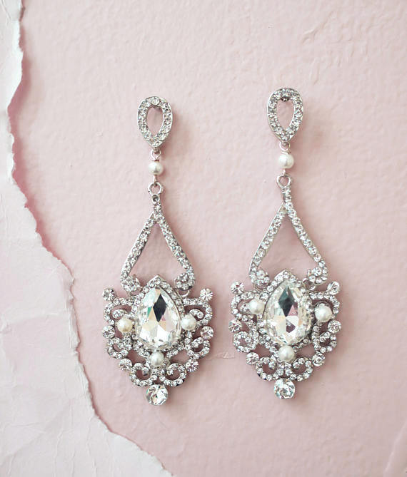 Bridal Chandelier Earrings Art Deco Wedding Jewelry Crystal Old Hollywood Great Gatsby Rhinestone Drop Pearl A