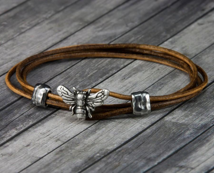 Bee Leather Bracelet Wrap Womens