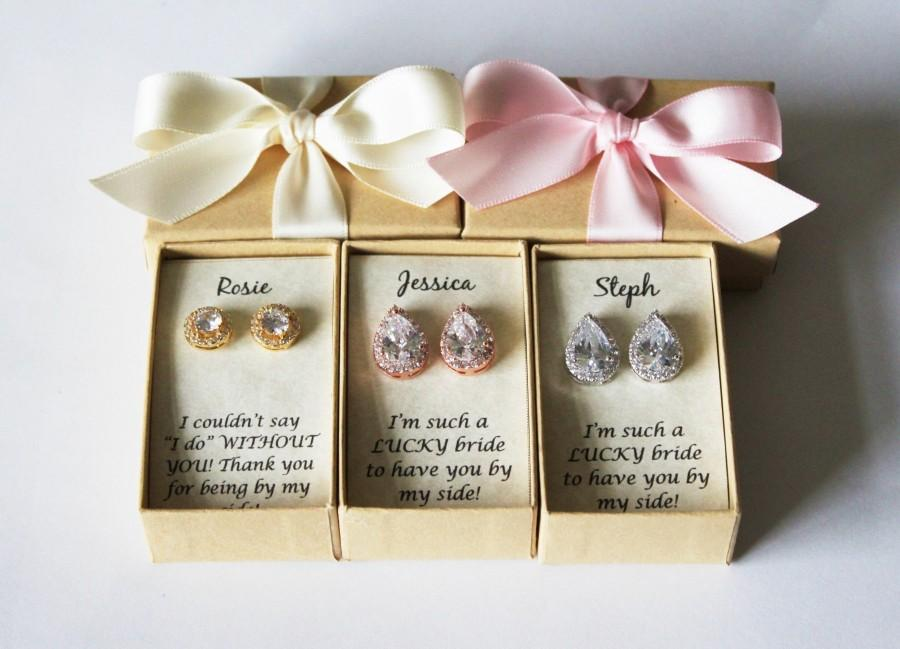 Bridesmaids Earrings Tear Drop Cz Stud Gifts Silver Cubic Zirconia Studs Rose Gold Bridesmaid Gift Bridal
