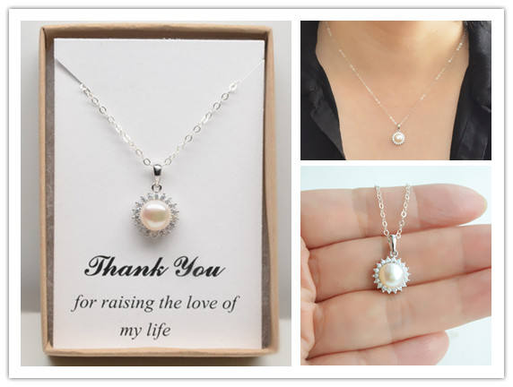 Mariage - Mother of the Groom, Bride Wedding Necklace Gift- Halo freshwater pearl neckalce in sterling silver-Mother in law,future mother gift jewelry