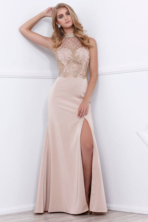 c7043eabd Nox Anabel - 8319 Lattice Beaded Halter Illusion Long Gown  2833590 ...