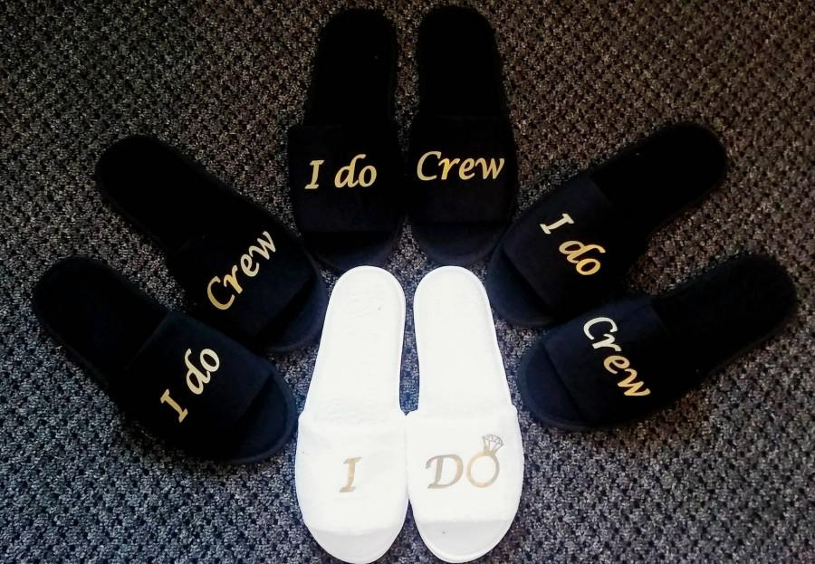 9f6214833db3 Bridesmaids Gifts- Bridesmaid Slippers - Bride Slippers - Slippers- Wedding  Slippers - Bridal Slippers - Custom Slippers - I do crew