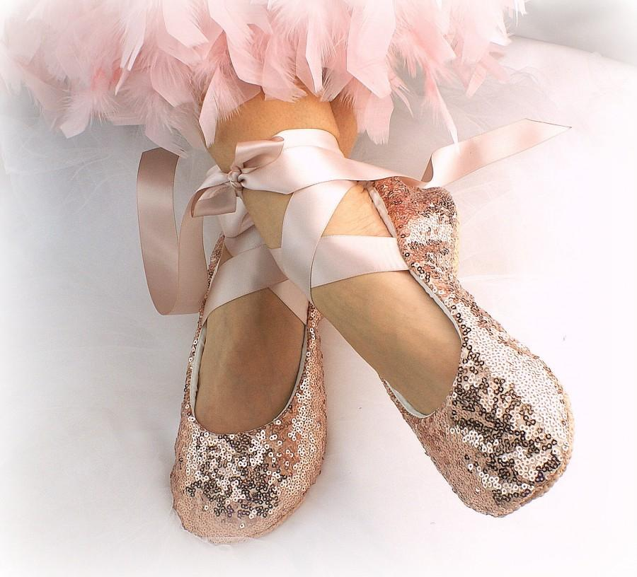 d1add625815 Ballet Slippers Flats Shoes Rose Gold Rose Gold Flats Flower Girl Flats  Sequin Ballet Flats Wedding Shoes Rose Ballet Flats Elegant Shoes
