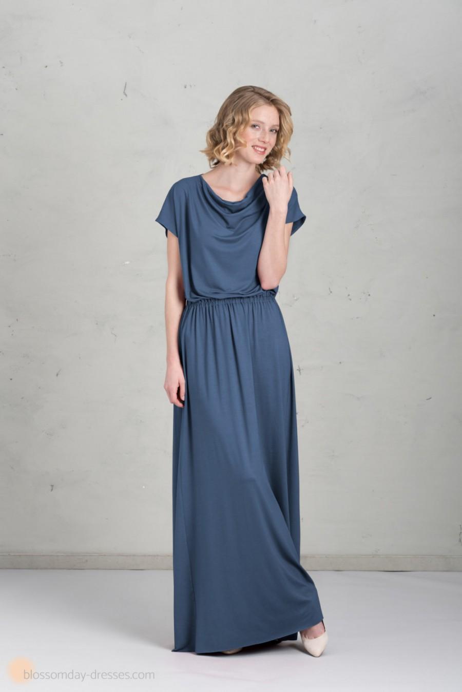 Свадьба - Long Bridesmaid Dress - Mathilda, Ocean Blue