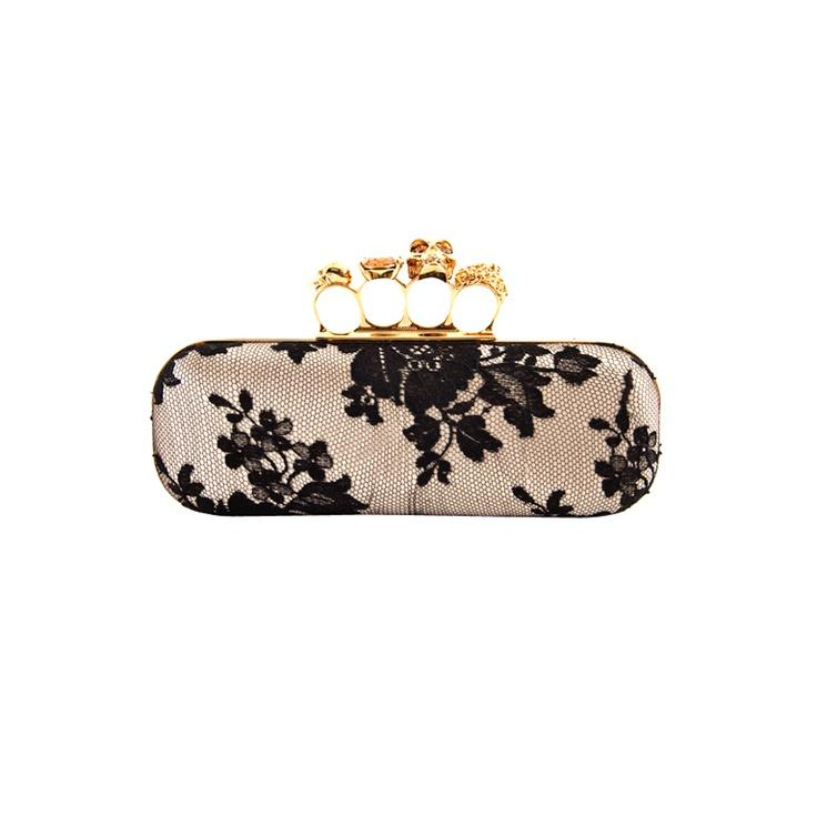 Wedding - ALEXANDER McQUEEN Satin And Lace Knucklebox Clutch Bag