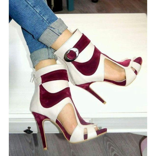 Свадьба - Color Block Peep Toe Cut Out Back Zipper Stiletto High Heels Short Boot Sandals