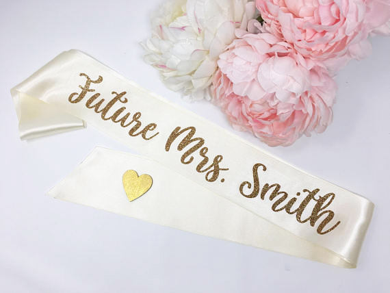 Wedding - Personalized Bride To Be Sash, Future Mrs. Sash, Bachelorette Sash, Bachelorette Party, Bridal Shower, Bride To Be, SMBRCOR
