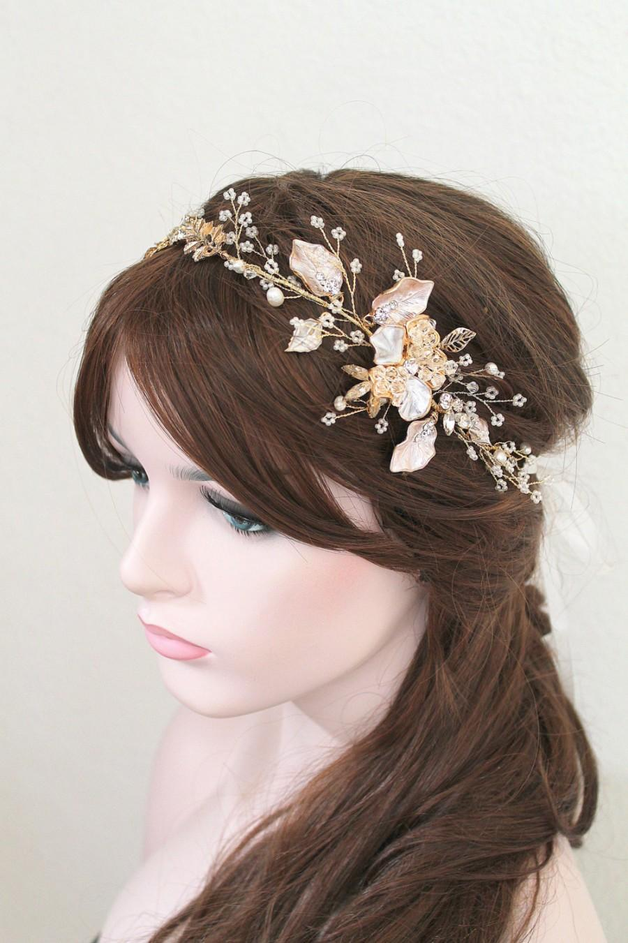 Hochzeit - Gold or Rose gold Leaf Vine Bridal Headpiece. Blush Boho Delicate Crystal Pearl wedding Wreath, Headband. Rhinestone Floral Hairpiece. BEA