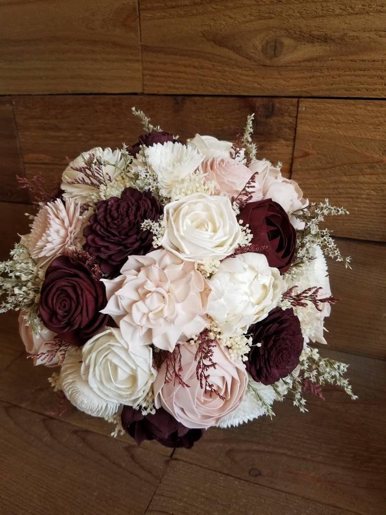 Hochzeit - Custom Burgundy, Wine and Blush Sola Wood Flower Bouquet dried Flowers Keepsake Wood Flowers Flower girl Toss Bridal Bridesmaid Style 79
