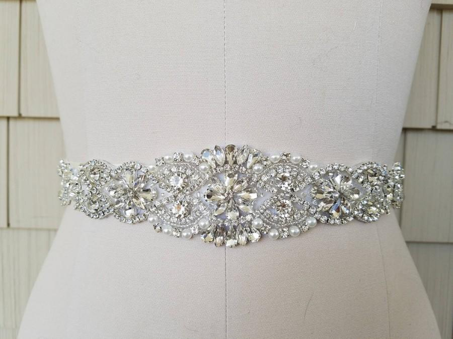 Wedding - Wedding Belt, Bridal Belt, Sash Belt, Crystal Rhinestone & Off White Pearls  - Style B200599C
