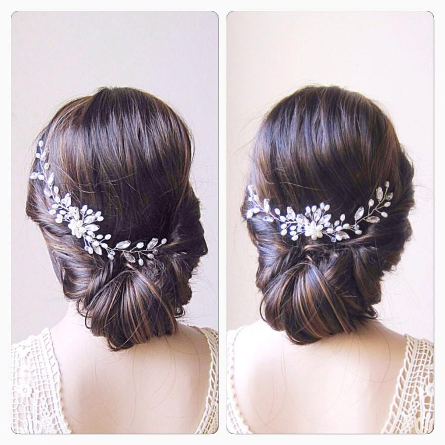Hochzeit - Bridal Head Piece Pearl Hair Vine Pearl And Crystal Wedding Hair Piece Pearl Wedding Hair Vine Bridal Hair Piece Pearl Bridal Hair Vine