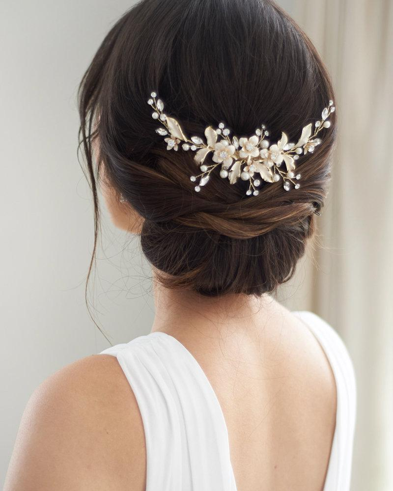 Boda - Gold Floral Wedding Back Piece, Pearl Bridal Comb, Gold Flower Comb, Floral Wedding Accessory, Crystal Comb, Rhinestone Gold Comb ~TC-2326
