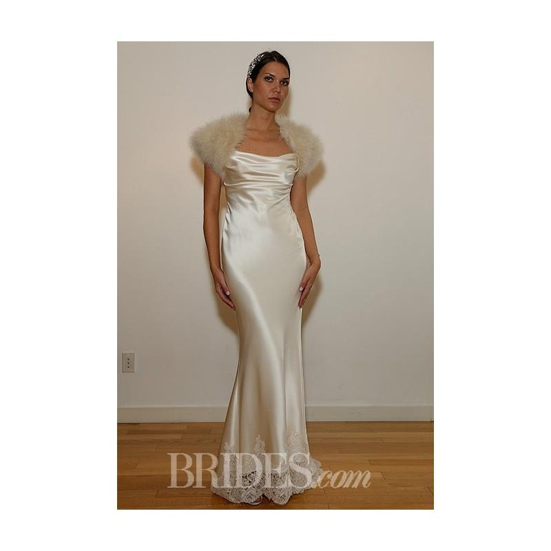 Mariage - David Fielden - Fall 2014 - Style 4022 Sleeveless Satin Sheath Wedding Dress with Square Neckline and Lace Trim - Stunning Cheap Wedding Dresses