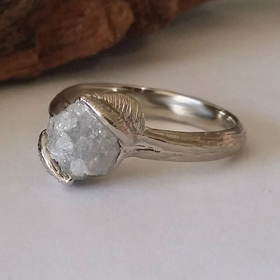 Mariage - Twig Engagement Ring, Raw Uncut Rough Diamond Engagement Ring, Leaf Engagement Ring in Gold by Dawn Vertrees