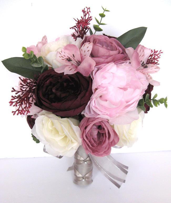 """Свадьба - Pink wedding bouquet, Mauve bouquet, Wedding bouquets, Bridal bouquet, PINK MAUVE EGGPLANT, Wedding flowers, 17 piece set """"RosesandDreams"""""""