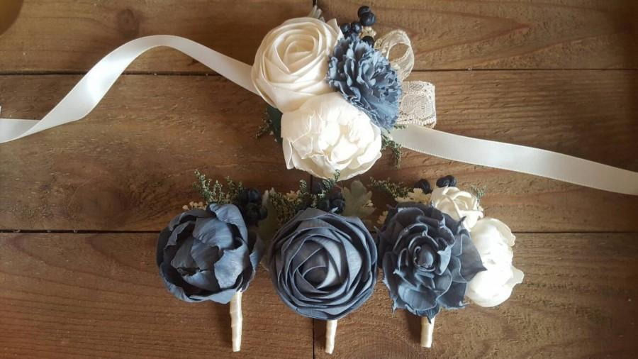Wedding - Custom Slate Dusty Blue Boutonniere or Corsage Sola Flowers and dried Flowers Keepsake wood Flowers