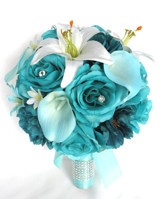 "Wedding - Wedding Bouquet 17 Piece Package Bridal Silk flower Bouquets TURQUOISE AQUA TEAL Calla Lily Wedding decoration Centerpiece ""RosesandDreams"""