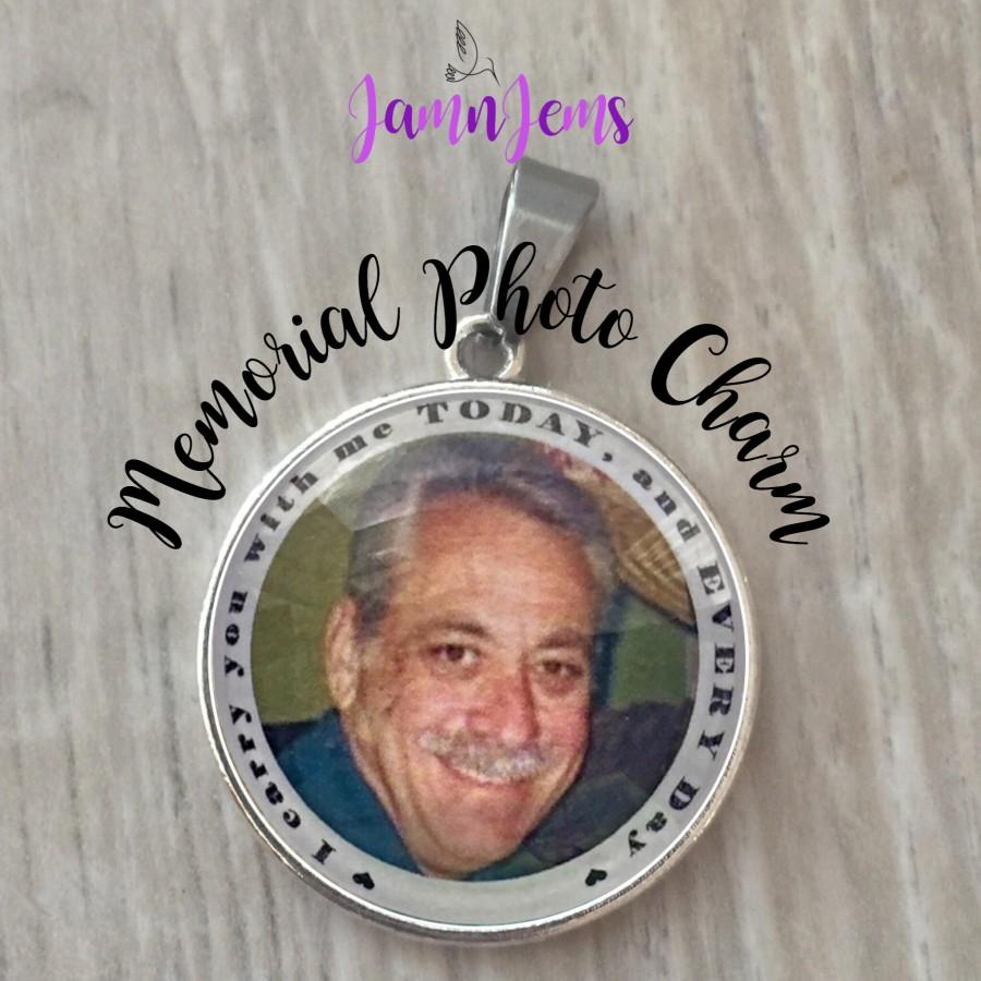 Wedding - Wedding Memorial Bouquet Charm Custom Photo Charm Personalized Bouquet Picture Charm Gift for Bride In Memory of Dad Memorial Photo Jewelry