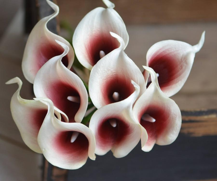 Boda - Burgundy Picasso Calla Lilies Dark Red Picasso Real Touch Flowers DIY Silk Wedding Bouquets, Centerpieces, Wedding Decorations