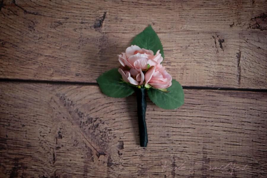 Boda - Blush Pink Rose Boutonniere - Silk Wedding Boutonniere