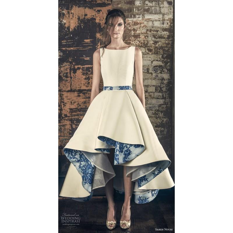 زفاف - Sareh Nouri Fall/Winter 2018 Esme Asymmetrical High Low Ball Gown Bateau Printing Satin Sleeveless Wedding Dress - 2018 Spring Trends Dresses