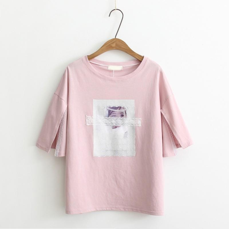 Wedding - Must-have Split Printed Split Front Scoop Neck Lace Cartoon Edgy T-shirt Essential - Lafannie Fashion Shop