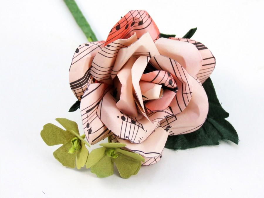 Wedding - Rose Music Sheet Rose - Grooms Buttonhole - Boutonniere