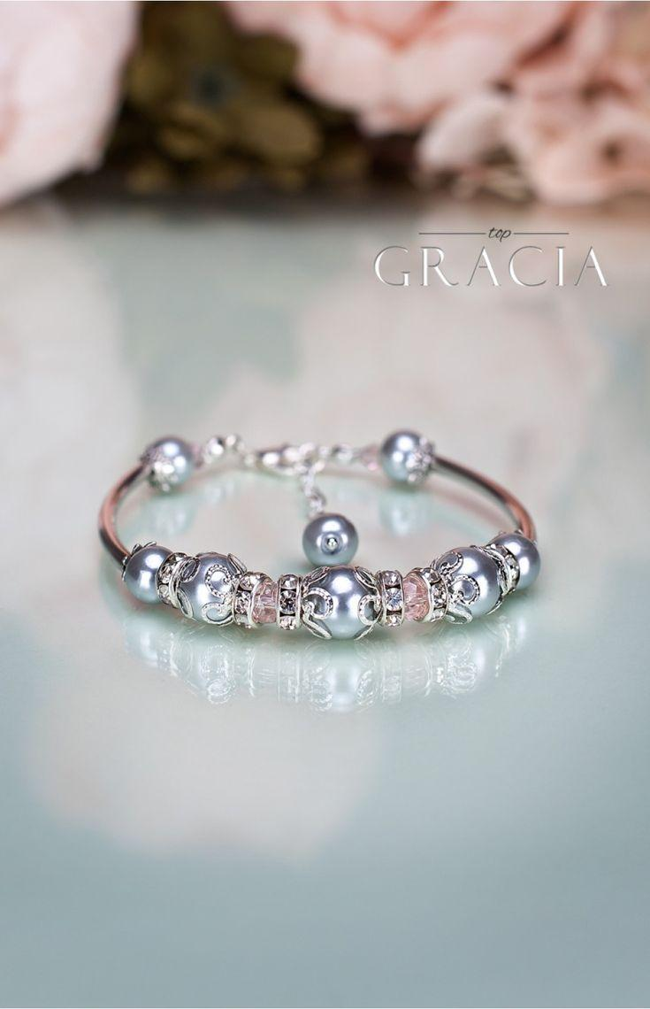زفاف - LENA Mother's Day Gift Gray Pearl Earrings Necklace - Jewelry Set