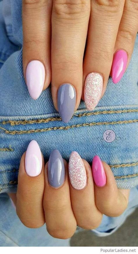 Wedding - Stiletto Nails With Blue And Pink