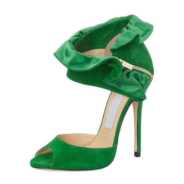 Mariage - Green Falbala Peep Toe Stiletto Heel Shoes