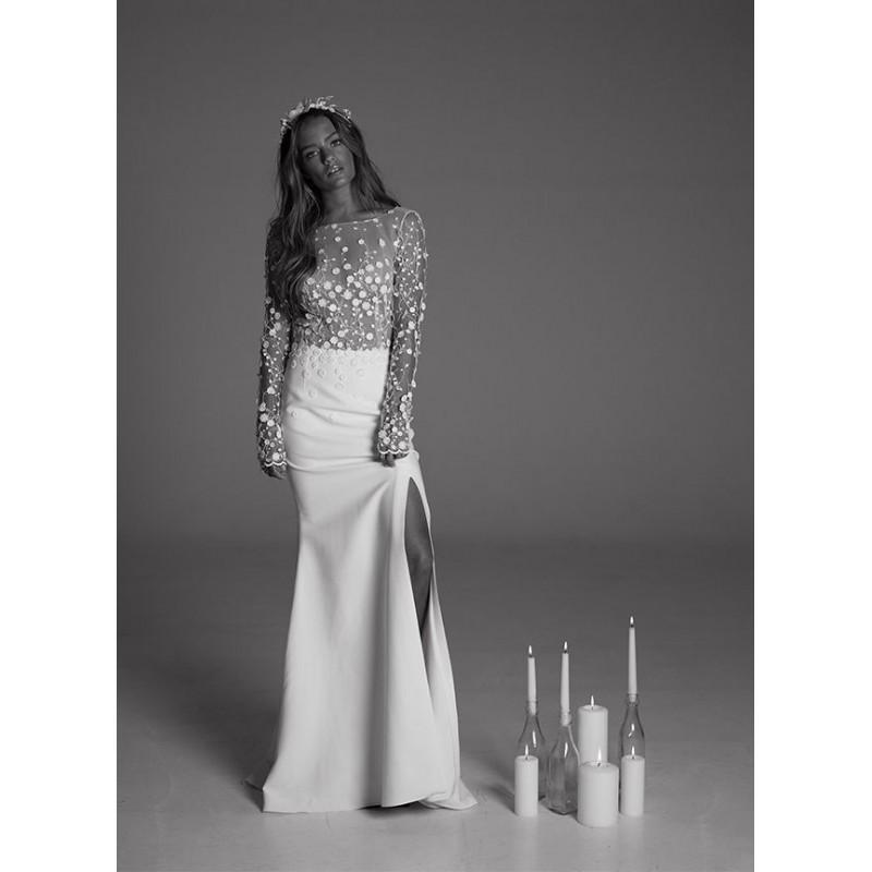 زفاف - Rime Arodaky Fall/Winter 2017 Blair Open Back Lace Embroidery Split Long Sleeves Sweep Train Bateau Fit & Flare Wedding Dress - Formal Bridesmaid Dresses 2018