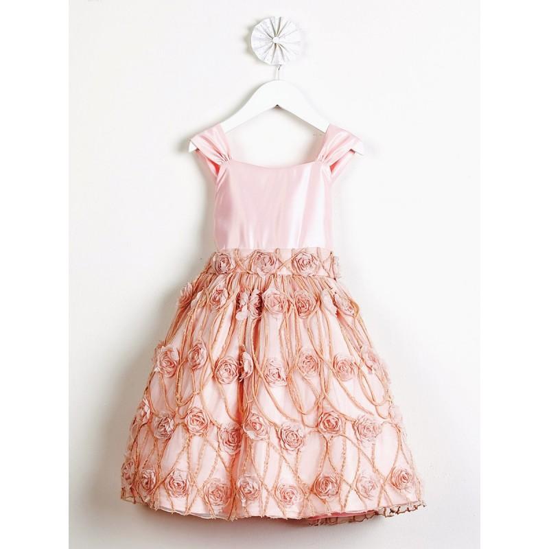 زفاف - Petal Pink Satin w/ Rose Vine Mesh Vintage Dress Style: DSK476 - Charming Wedding Party Dresses
