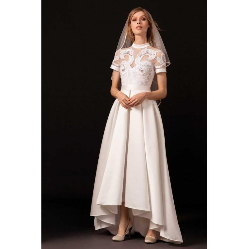 زفاف - Temperley London Spring/Summer 2018 Virginie Asymmetrical High Low Ivory High Neck Ball Gown Satin Embroidery Wedding Gown - Charming Wedding Party Dresses