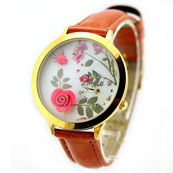 Wedding - New Flower Gold Edge Polymer Clay Watch