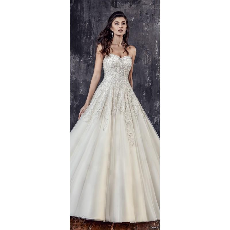 Wedding - Eddy K. CT205 2018 Sweet Sleeveless Sweetheart Chapel Train Aline Ivory Covered Button Tulle Beading Hall Spring Wedding Gown - Elegant Wedding Dresses