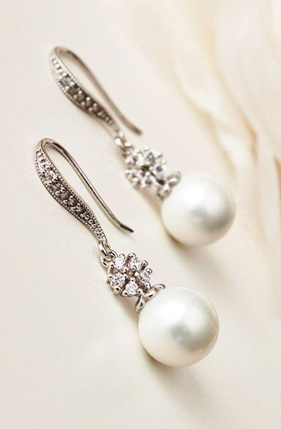 Mariage - Pearl Drop Earrings
