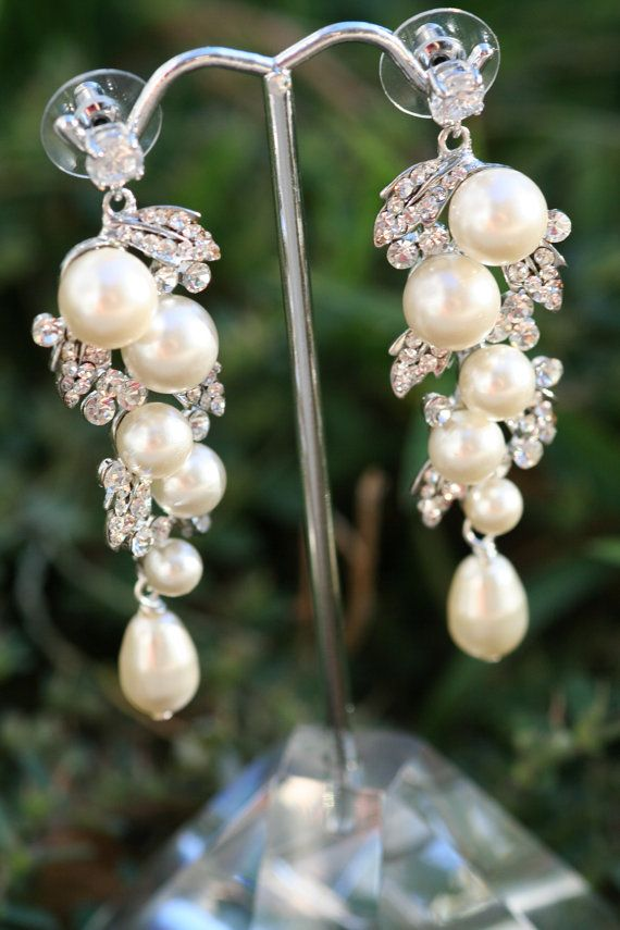 Mariage - Pearl Earrings- Wedding Jewelry, Bridal Earrings, Swarovski , Lamor Swarovski Crystal And Pearl Bridal Earrings