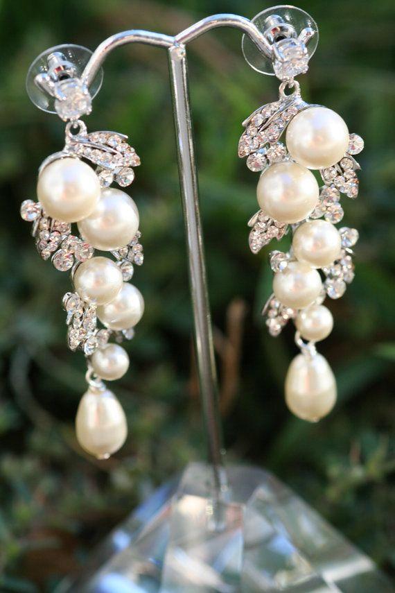 Wedding - Pearl Earrings- Wedding Jewelry, Bridal Earrings, Swarovski , Lamor Swarovski Crystal And Pearl Bridal Earrings