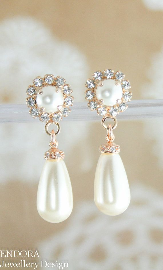 Wedding - Rose Gold Pearl Earrings,rose Gold Earrings,rose Gold Bridal Earrings,rose Gold Wedding Jewelry,Swarovski Earrings,pearl Teardrop Earrings